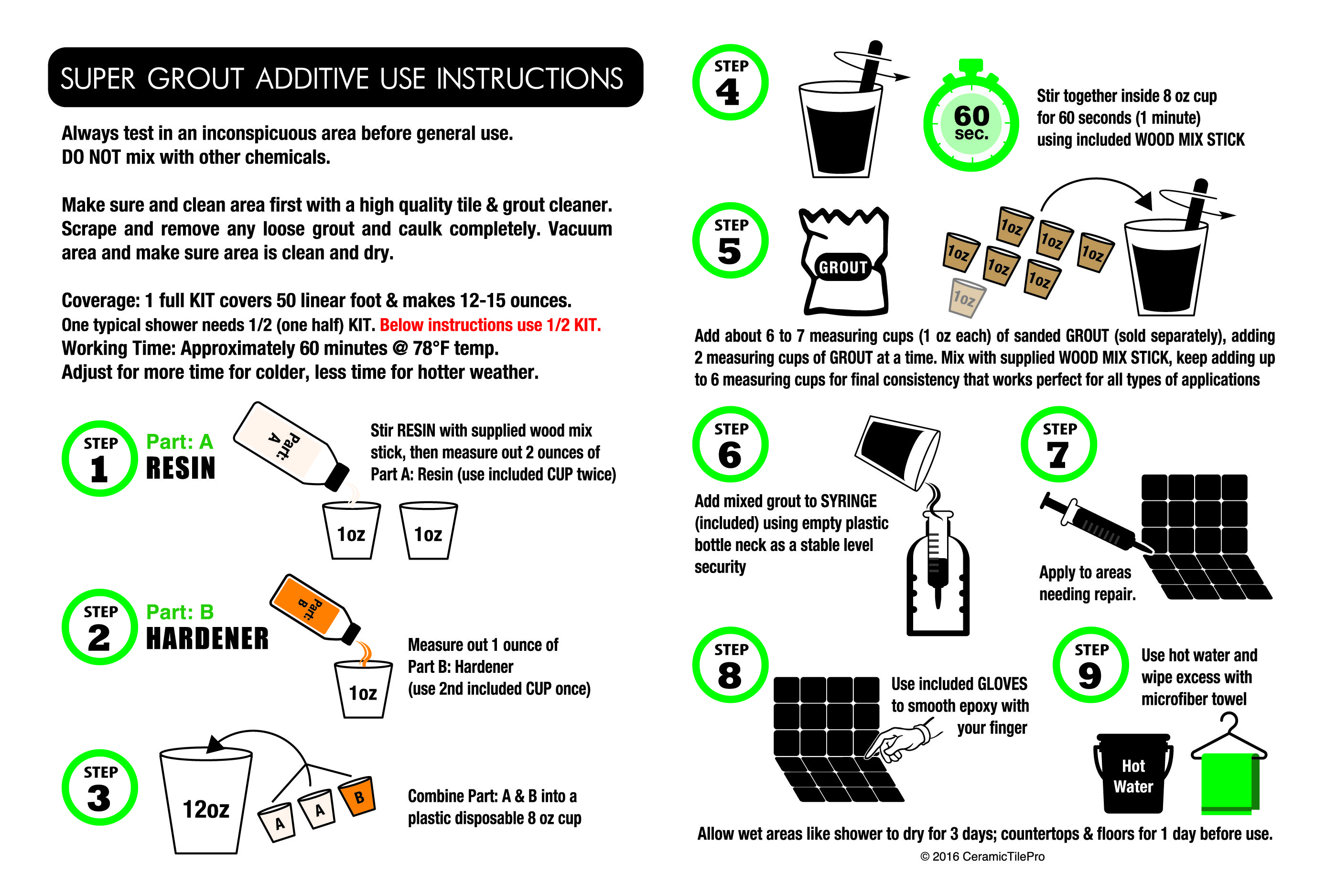 Ceramictilepro super grout additive use instructions
