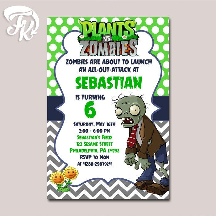 Plant Vs Zombie Polka Dot Birthday Party Card Digital Invitation Kid Birthday Zombie Birthday Parties Kids Zombie Party Zombie Birthday