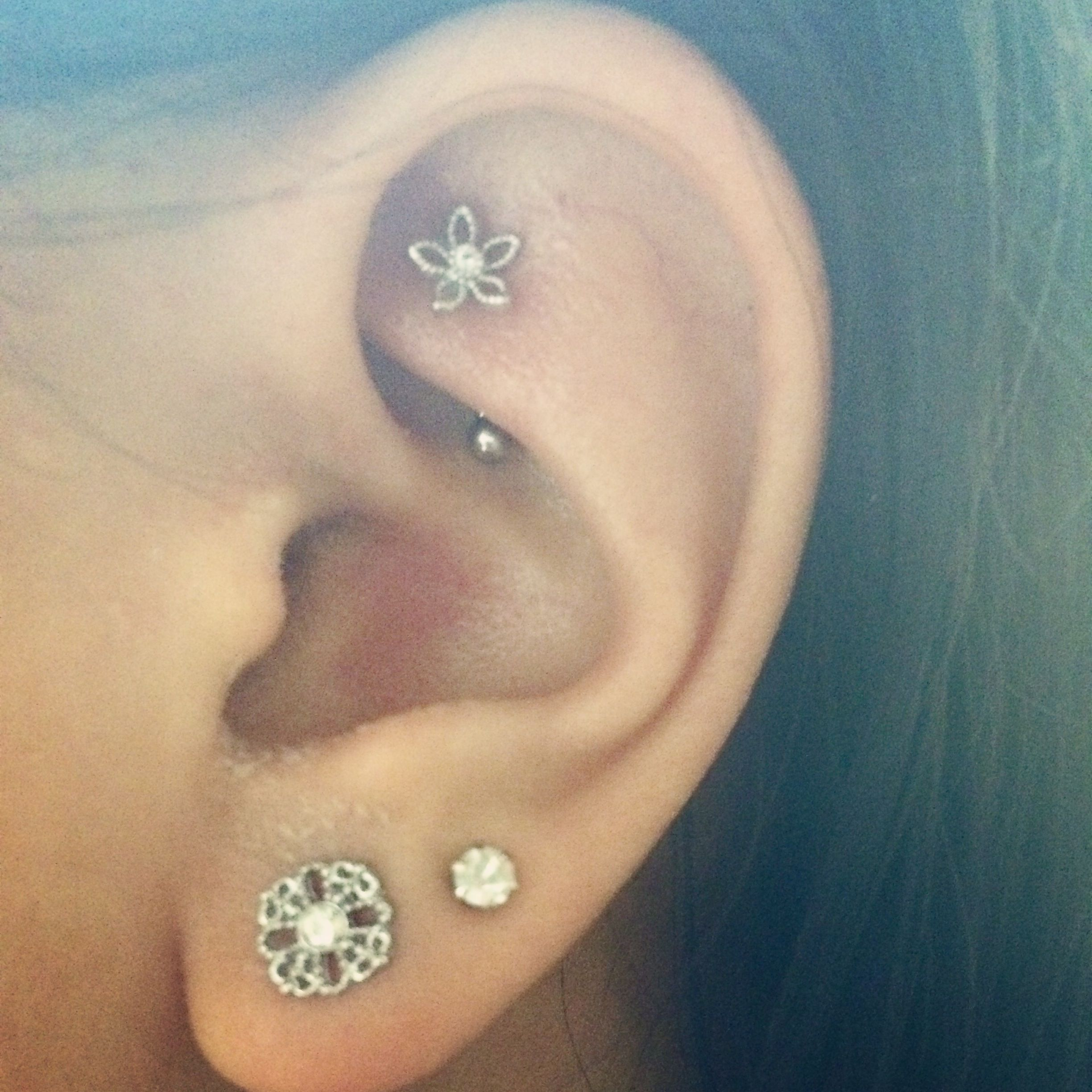 rook piercing double lobe pierced pretty Pinterest