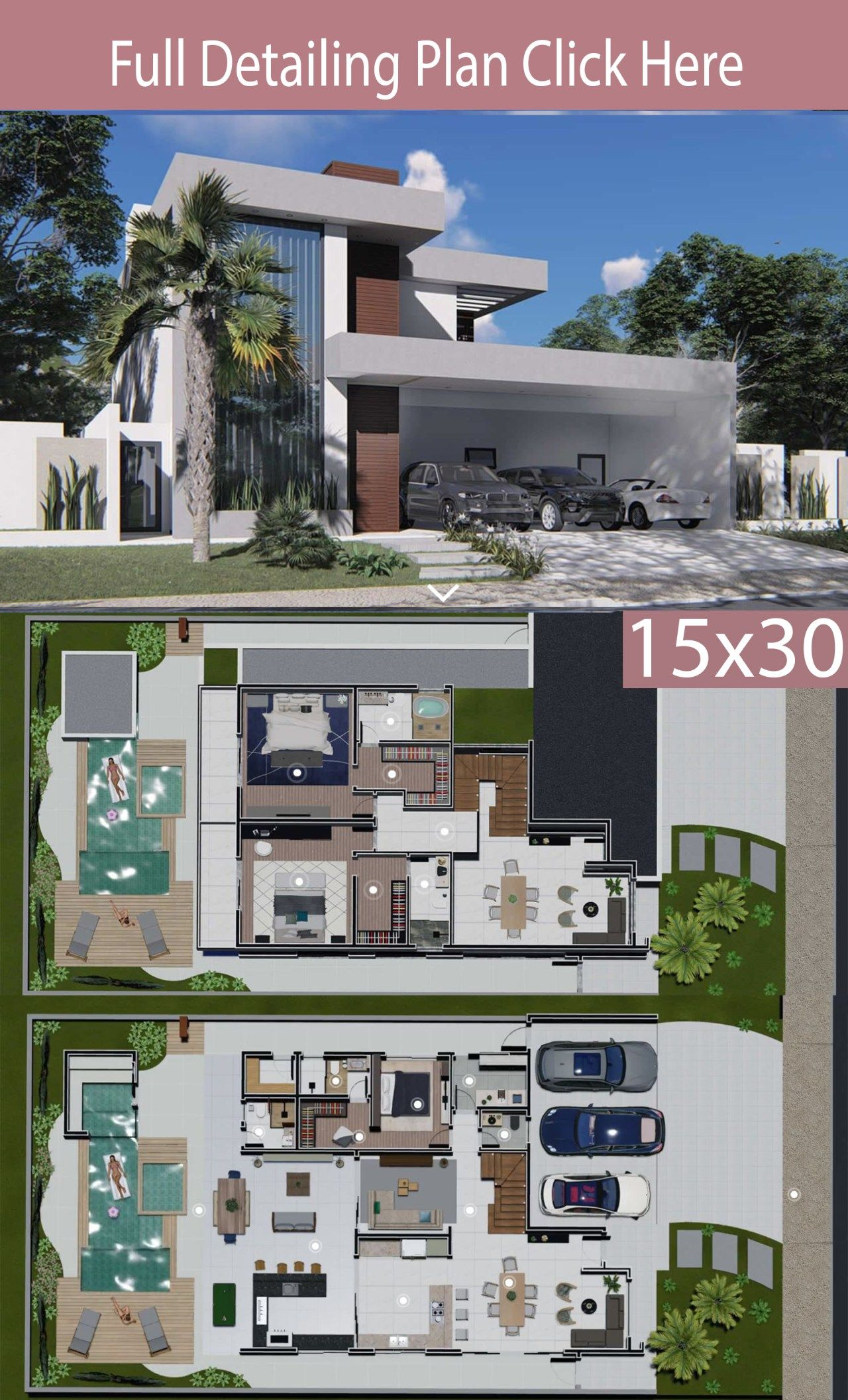Home Design 15x30 Meters 3 Bedrooms Home Ideas Architectural House Plans Model House Plan Home Building Design