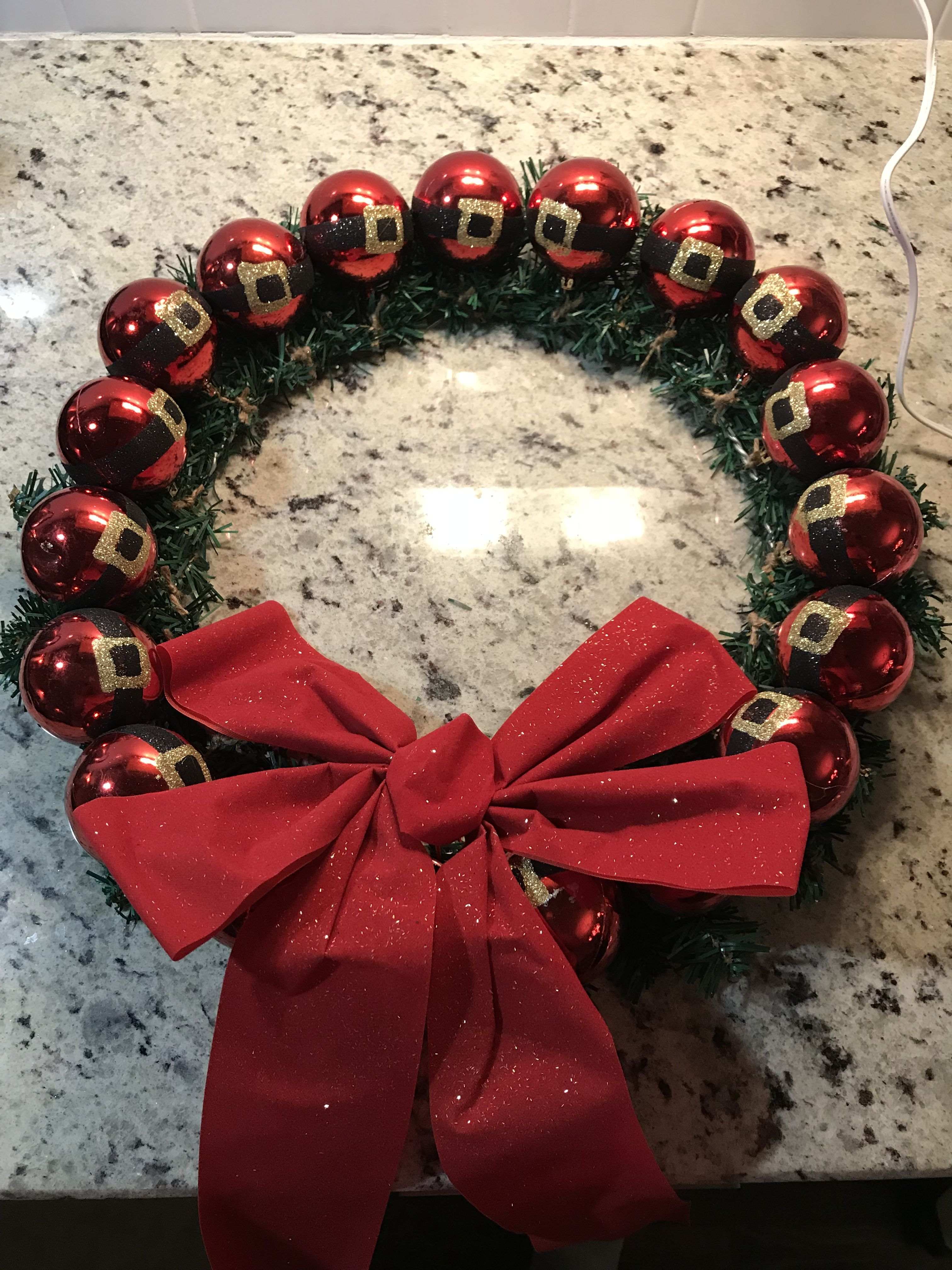Santa Claus ornament wreath All items from the Dollar Tree