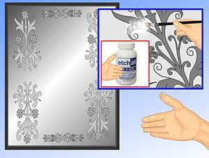 How To Stencil Or Frost A Mirror Frosted Mirror Mirror Frame Diy Etching Diy