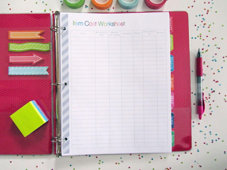 Item Cost Worksheet Planner Printable Page