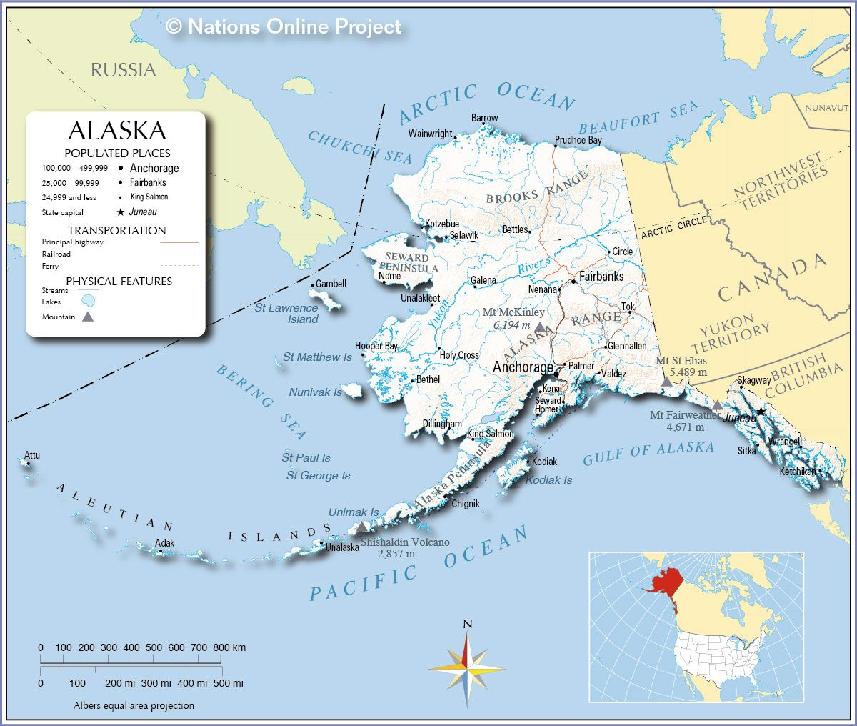 Map Of The U S State Of Alaska