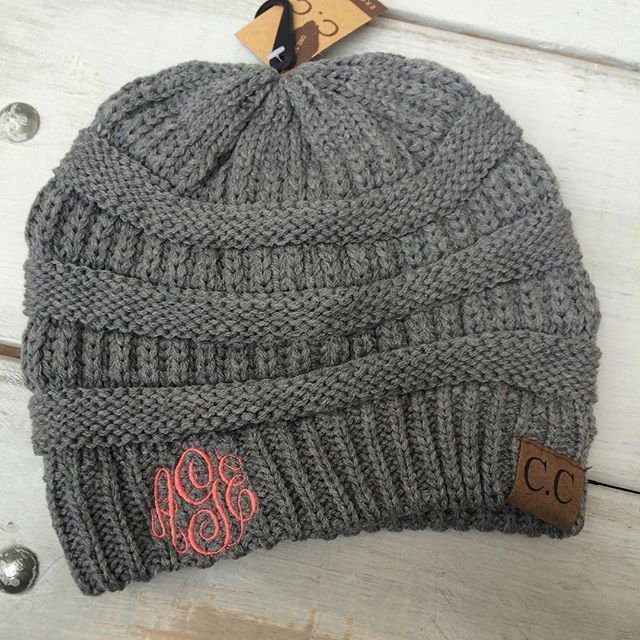 These monogrammed beanies will be your favorite fall accessory! Available  in your choice of grey 0bfc61f3ba2