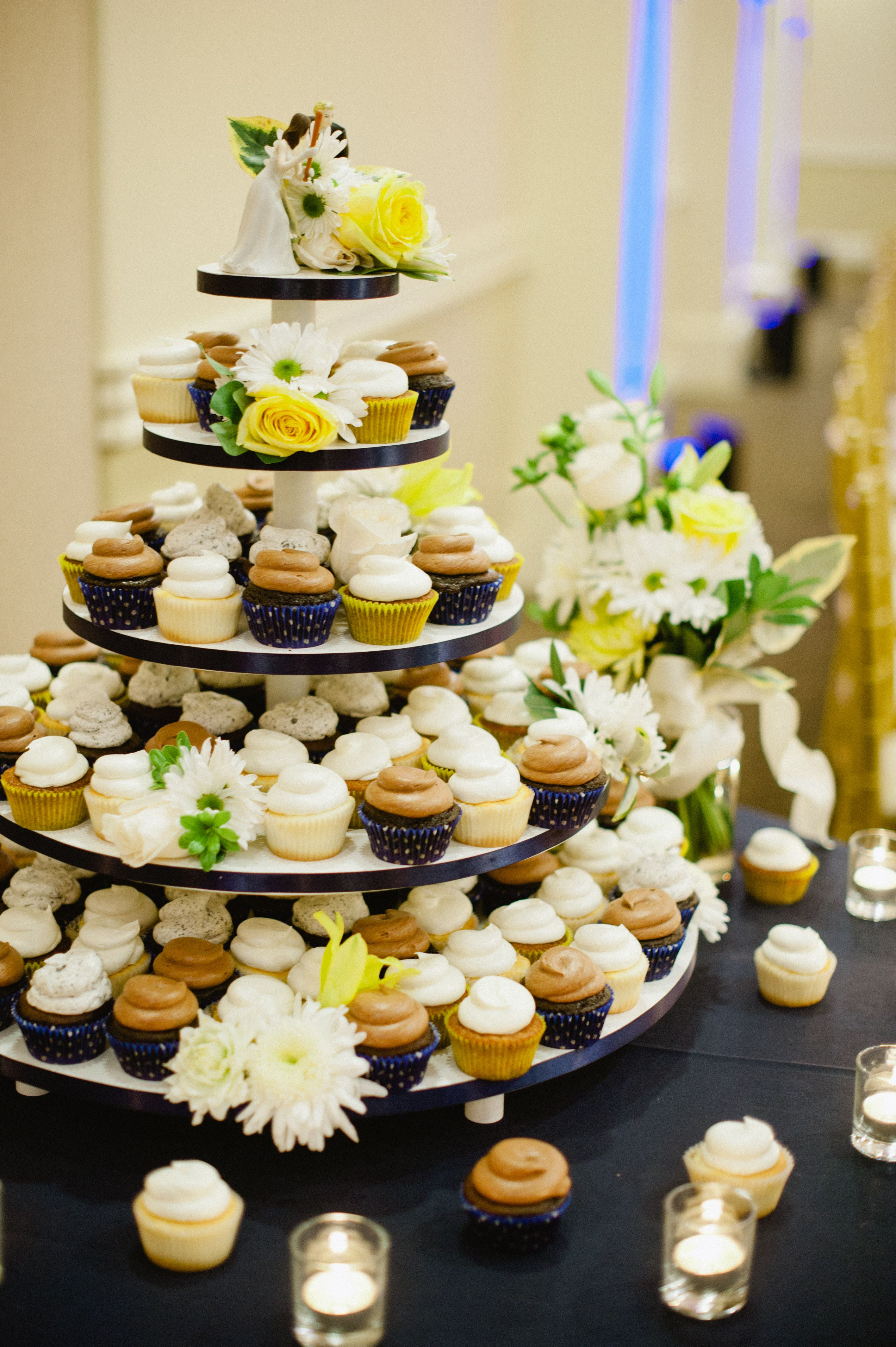 wedding bakeries in sacramento ca%0A Cupcake wedding cake  Blue  white and yellow  Cupcakes by  Sugar and Spice