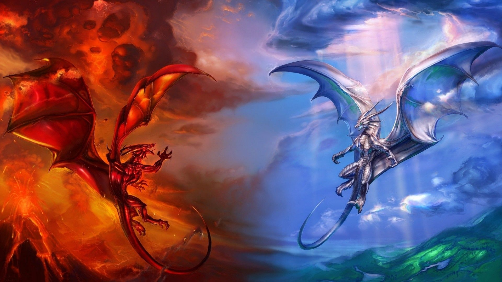 1920x1080 1920x1080 Hd Fire Dragon Vs Ice Dragon Wallpaper Hd