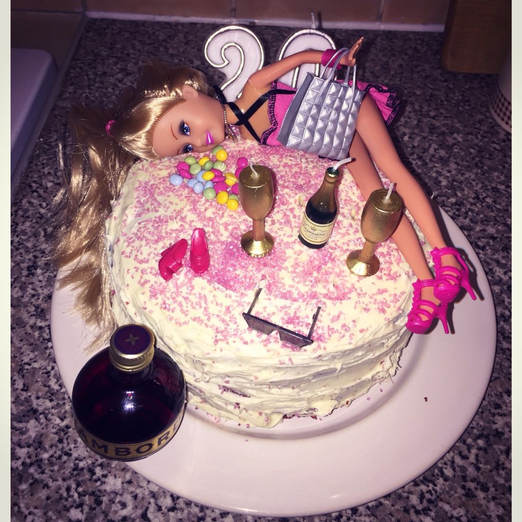 Tipsy Barbie 20th Birthday Cake With Images 21st Birthday