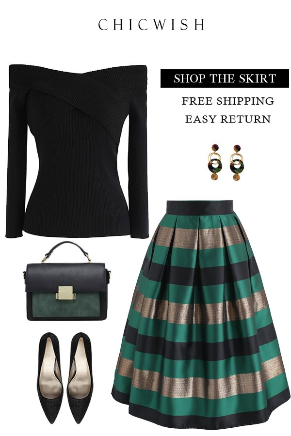 Cheers Stripes Pleated Midi Skirt in Green green XS