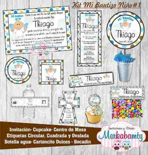 51ce11820207d Invitaciones Bautizo Kit Imprimible Para Niño Niña Gemelos -   80.00 en Mercado  Libre