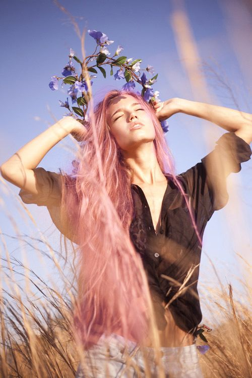 Pink Hair, Nature, Hay Fields, Boho, Hippy
