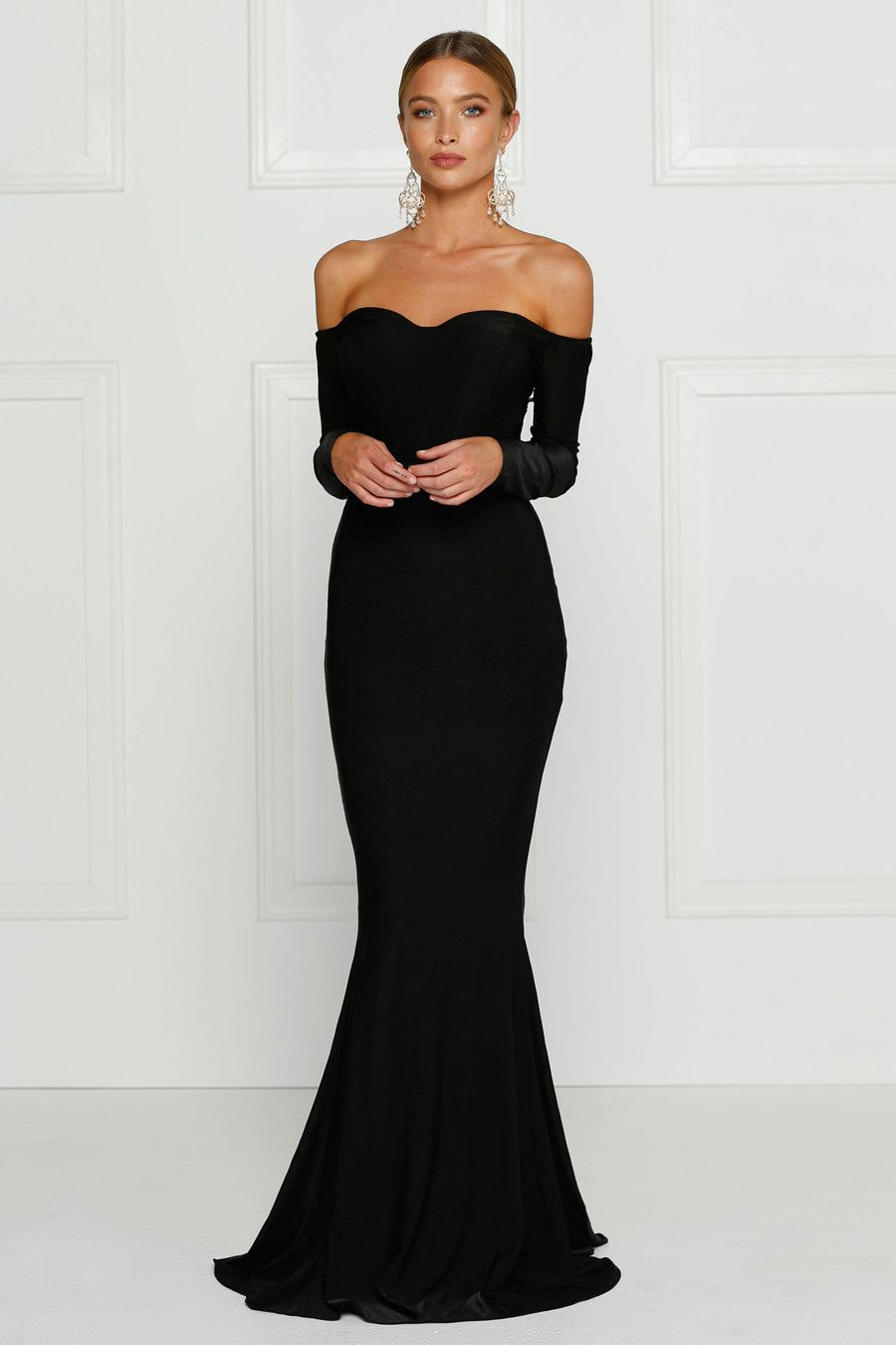 Alamour The Label Salma Black Off Shoulder Formal Gown Dress