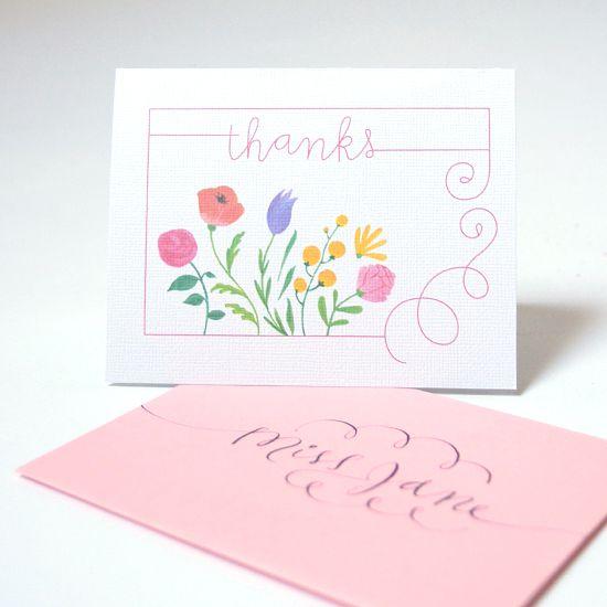 Floral thank-you card freebie.
