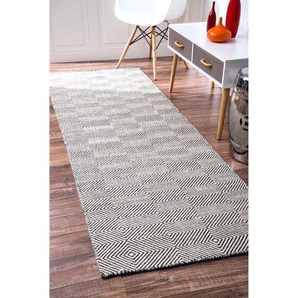 NuLOOM Handmade Concentric Diamond Trellis Wool Cotton Runner Rug 26 X 8 By Nuloom