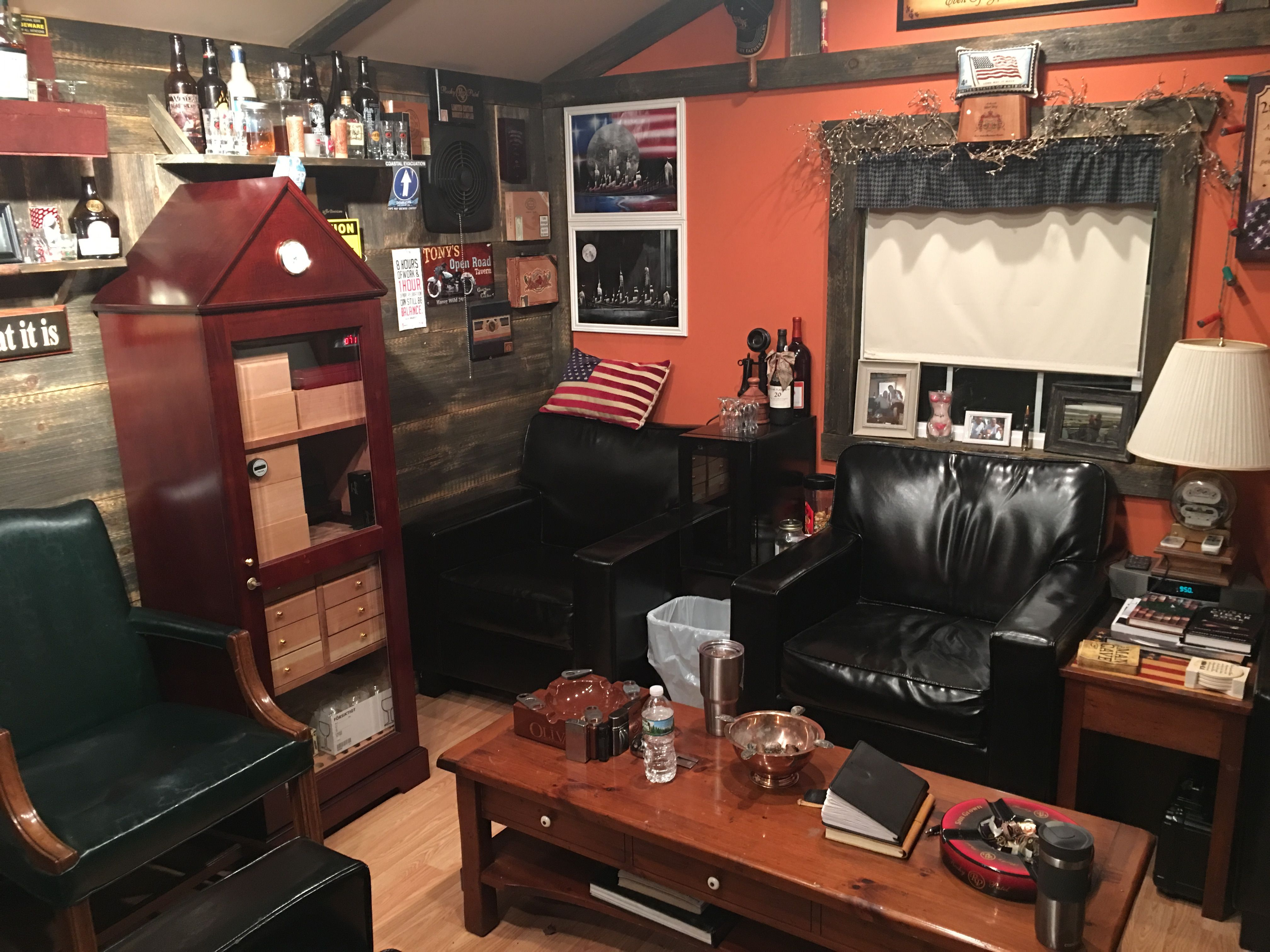 Man Cave Hours : 12 x 20 shed converted into a cigar lounge