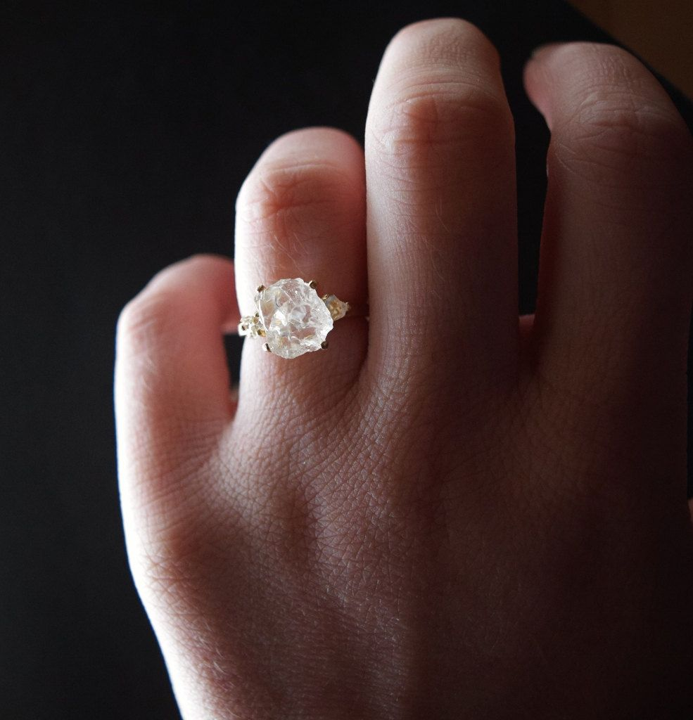 Size 5 14k Gold Diamond Ring, Raw Diamond Engagement Ring, Solid Gold Engagement Ring, Rough Diamond Ring, Raw Diamond Ring, Avello