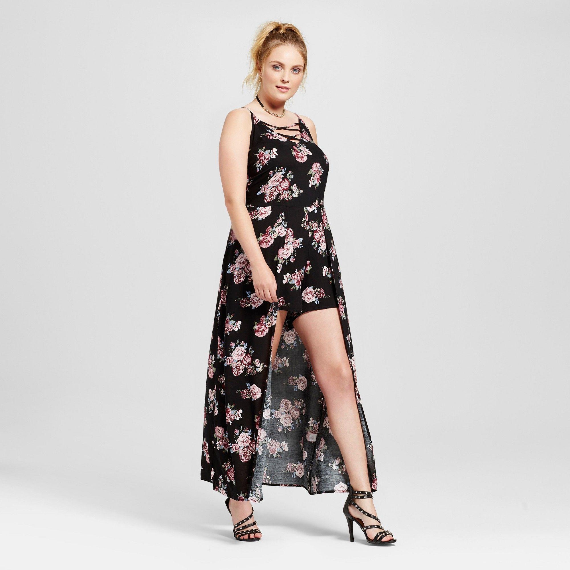 944bd64503a3 Women s Plus Size Floral Cami Lace Up Hi Lo Romper Black 2X - Almost Famous  (Juniors )