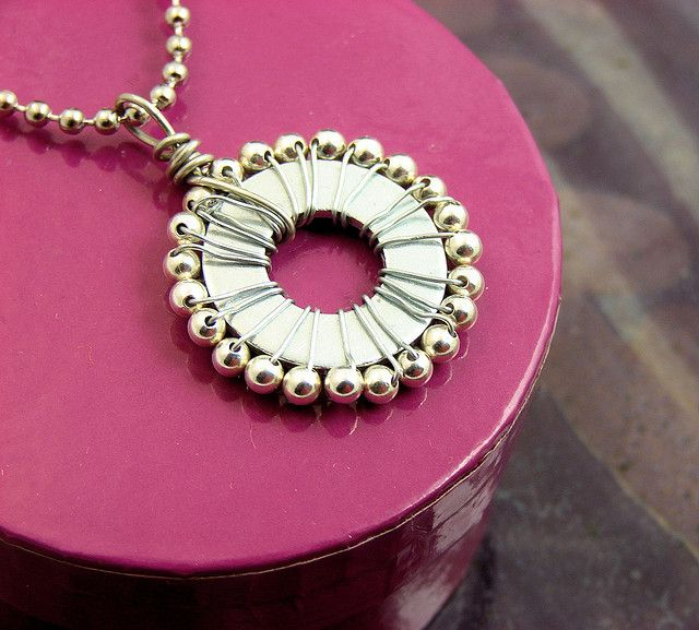 Bead Wrapped Washer Necklace by additionsstyle, via Flickr
