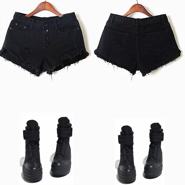 heetheadz.com high waisted black jean shorts (20 ...