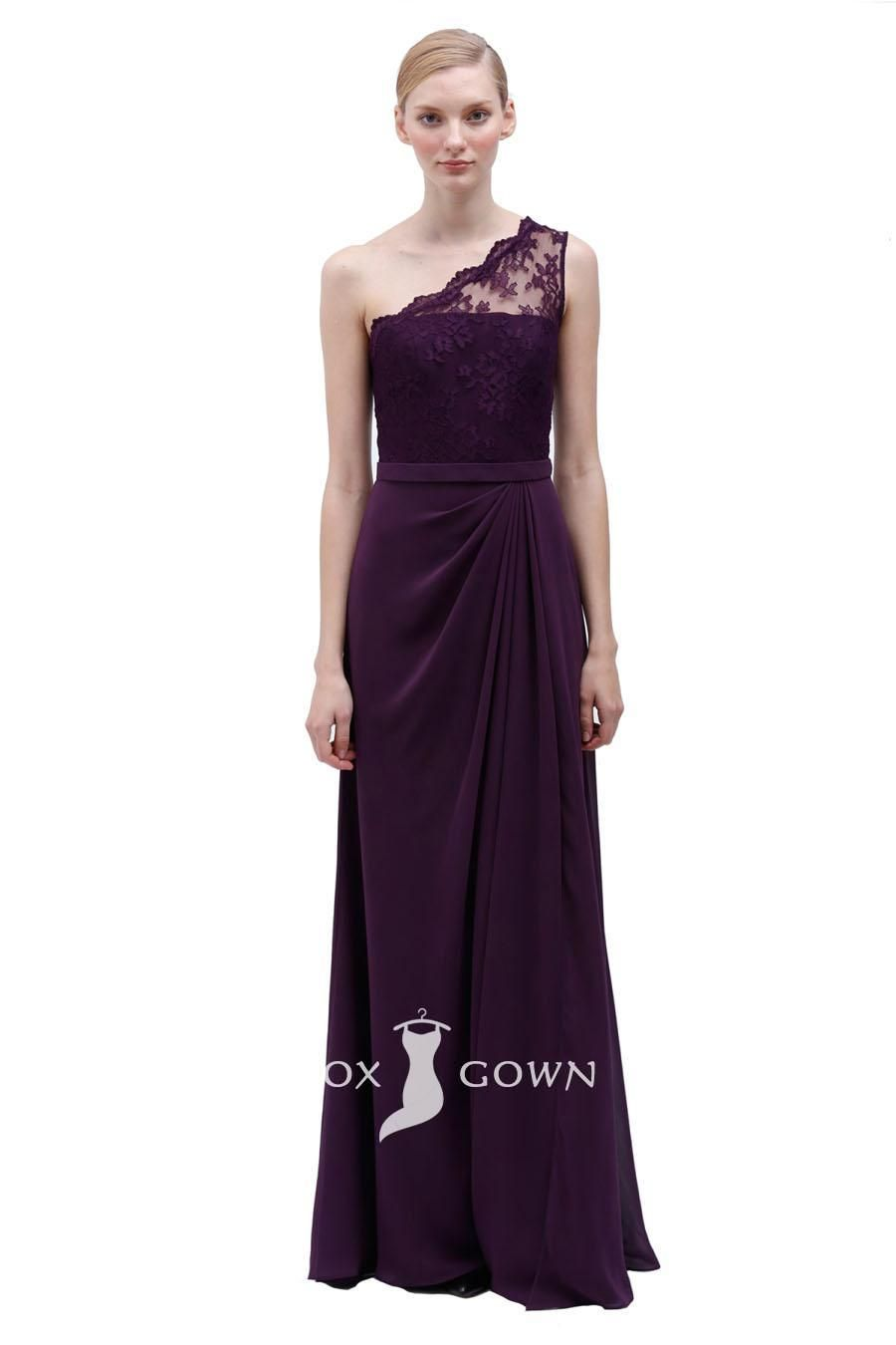 Plum one shoulder lace and chiffon floor length bridesmaid dress plum one shoulder lace and chiffon floor length bridesmaid dress ombrellifo Gallery