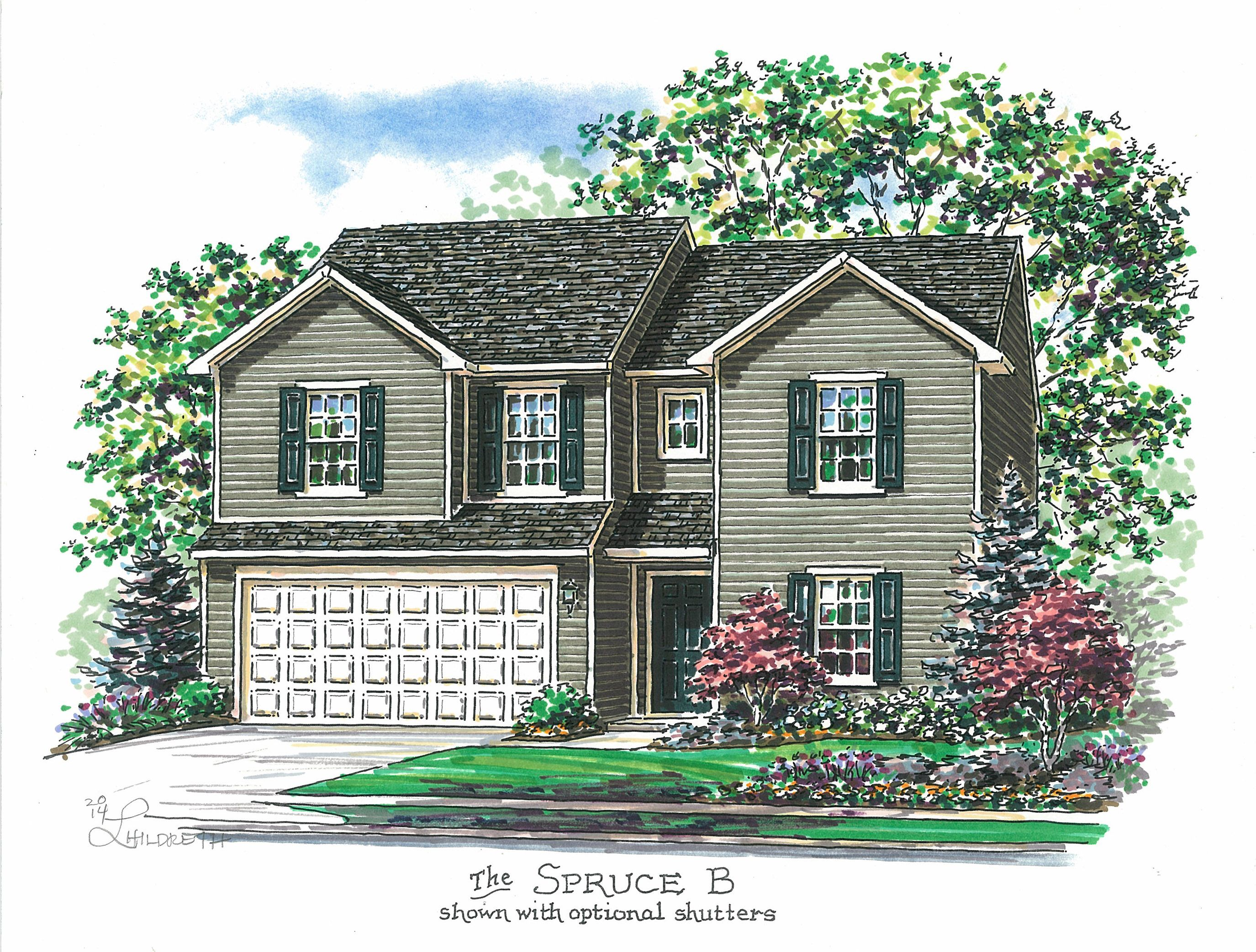 Spruce B shown with optional shutters House styles