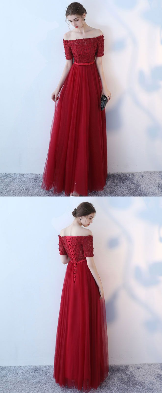 Burgundy tulle off shoulder long prom dress burgundy eveninng dress