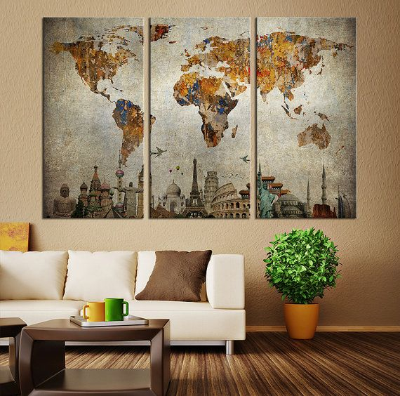 Vintage world map canvas print large world by extralargewallart vintage world map canvas print large world by extralargewallart more gumiabroncs Image collections