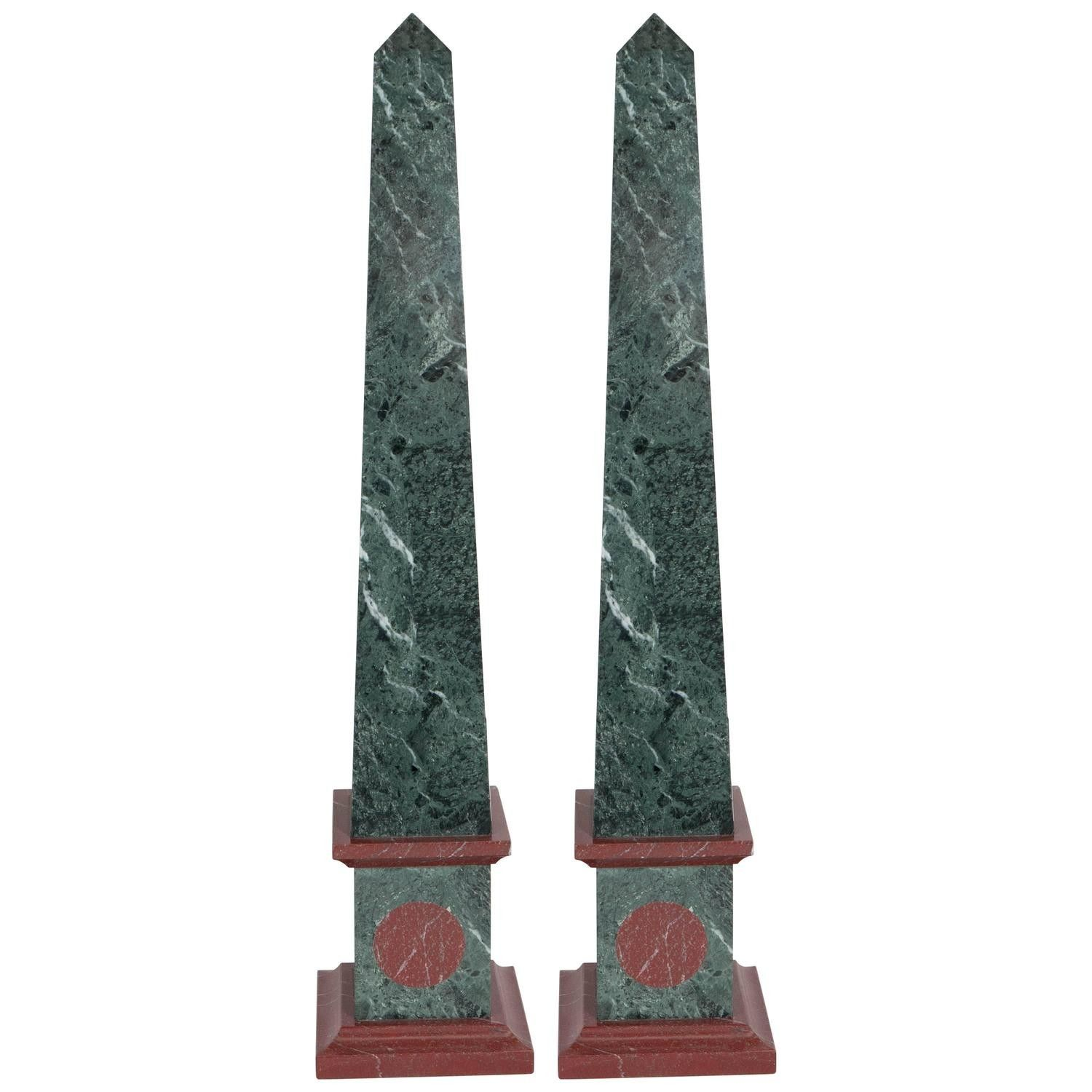 A Pair Of Grand Tour Architectural Obelisks In Green And Red Marble Produced During The Mid 20th Century In Good Vintage Con In 2020 With Images Obelisk Grand Tour Green Marble