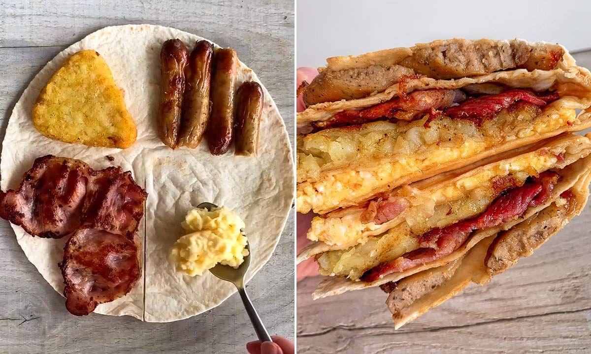 The Fry Up Breakfast Wrap Hack Tiktok Is Going Crazy Over In 2021 Breakfast Wraps Breakfast Tortilla Foood Recipes