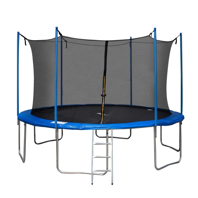Tiptiper 12 Ft Trampoline Outdoor Trampoline With Safety Enclosures Net And Ladder Round Trampoline