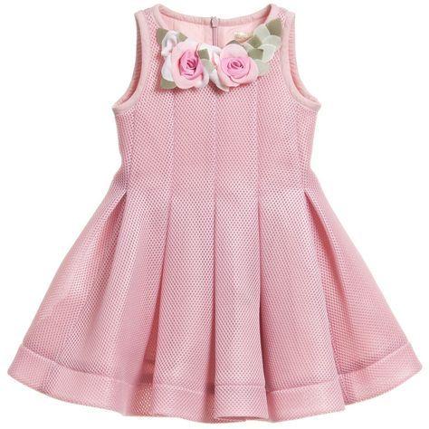 Monnalisa Dusky Pink Neoprene Style Dress at <a…