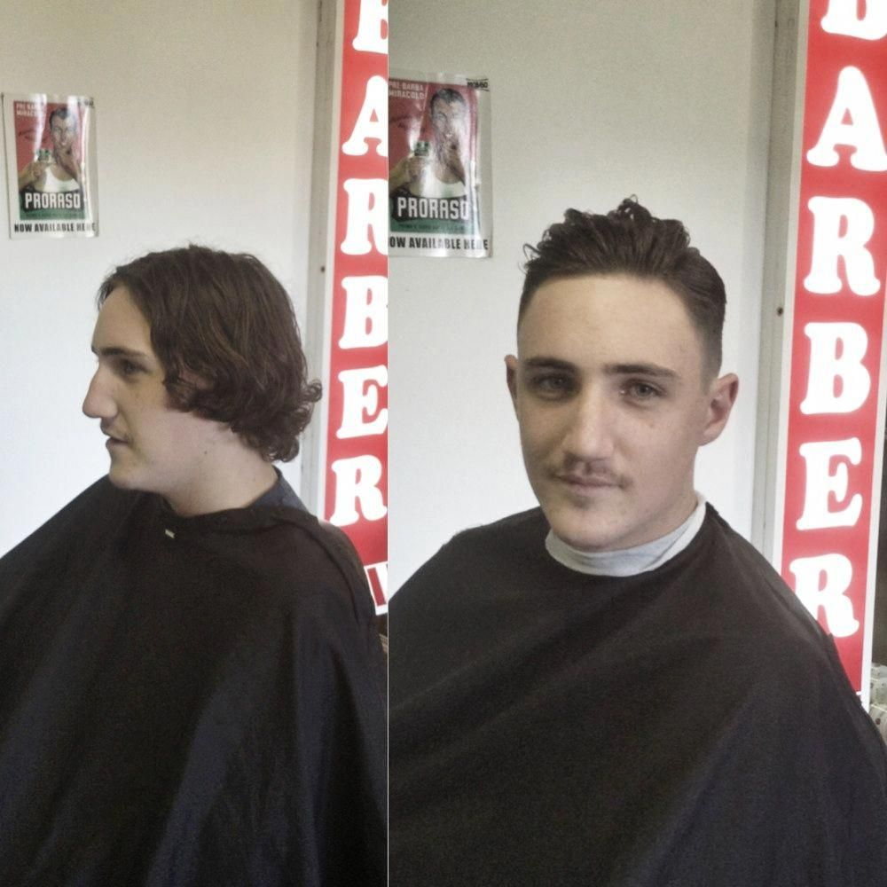 Before and after beard side part pompadour barber barberlife