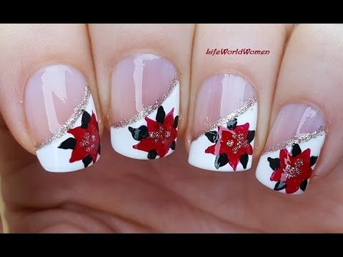 Christmas Side French Manicure With Poinsettia Nail Art Design Youtube Nail Art Designs Christmas Nail Designs Gel Nail Art Designs