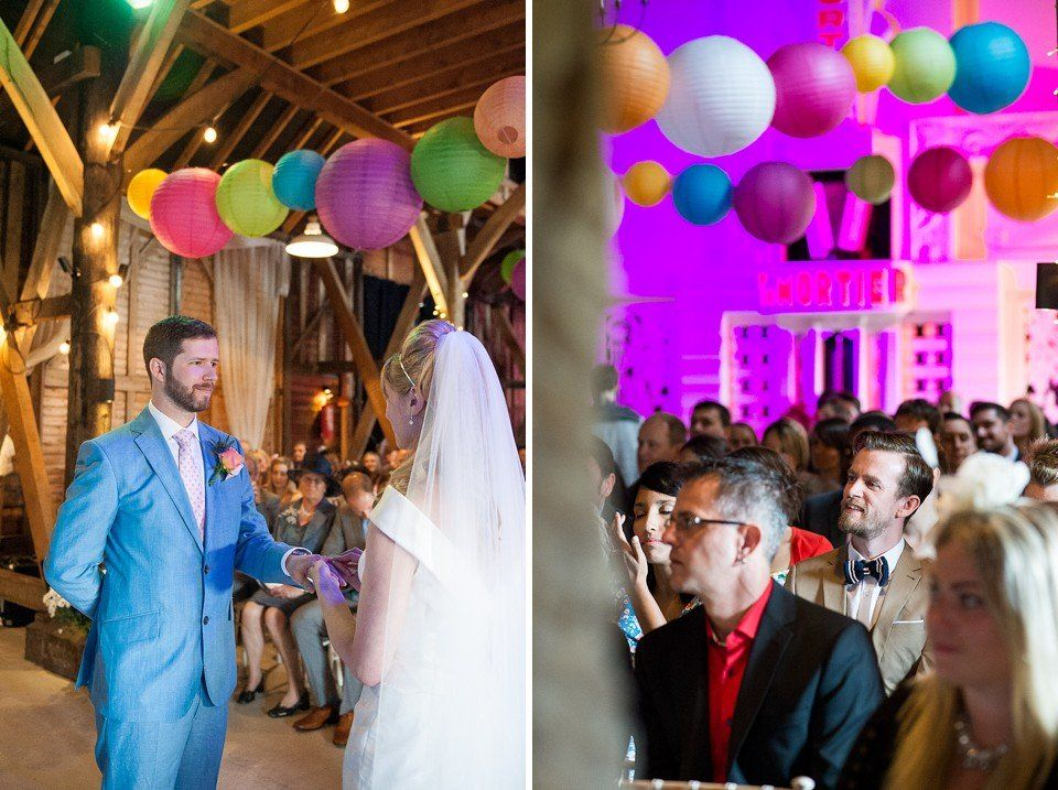 Charming rustic wooden beam interior at Preston Court, to celebrate a butterfly and bee themed wedding in Kent - © Fiona Kelly wedding photographer