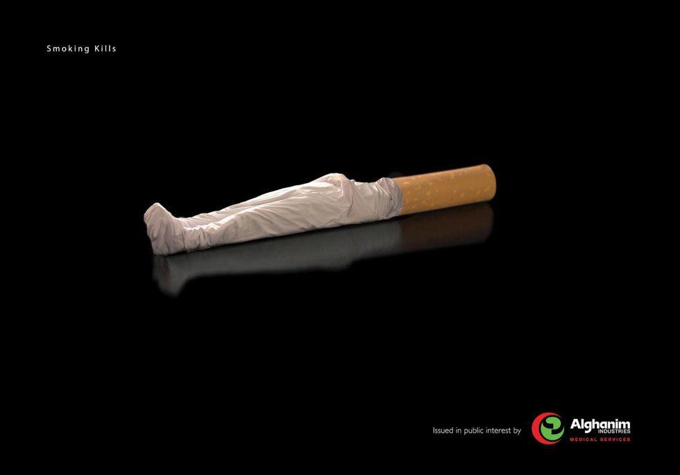 El anuncio nos está indicando que si fumamos podemos acabar así.