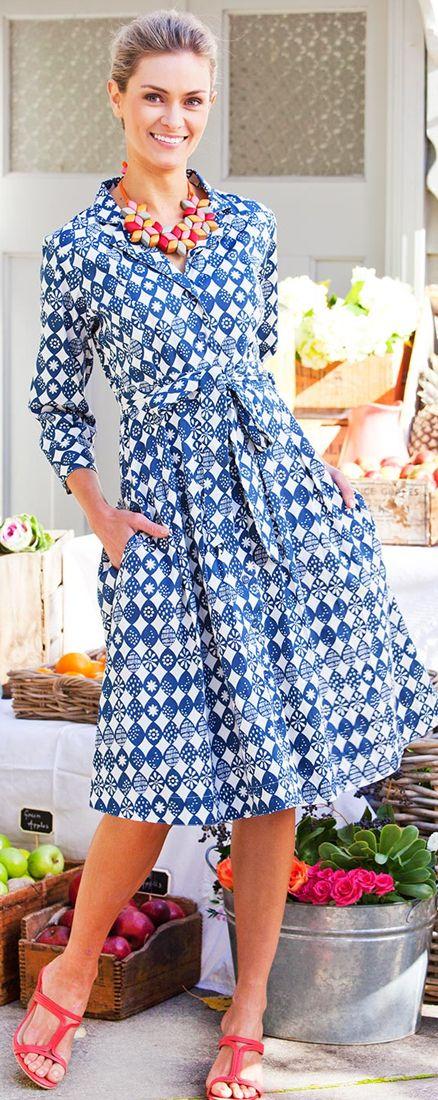 THAT BIRD LABEL - Lyla Shirt Dress   #thatbirdlabel #tuttifruitti #spring #lemon #shirtdress #navy #print #pattern