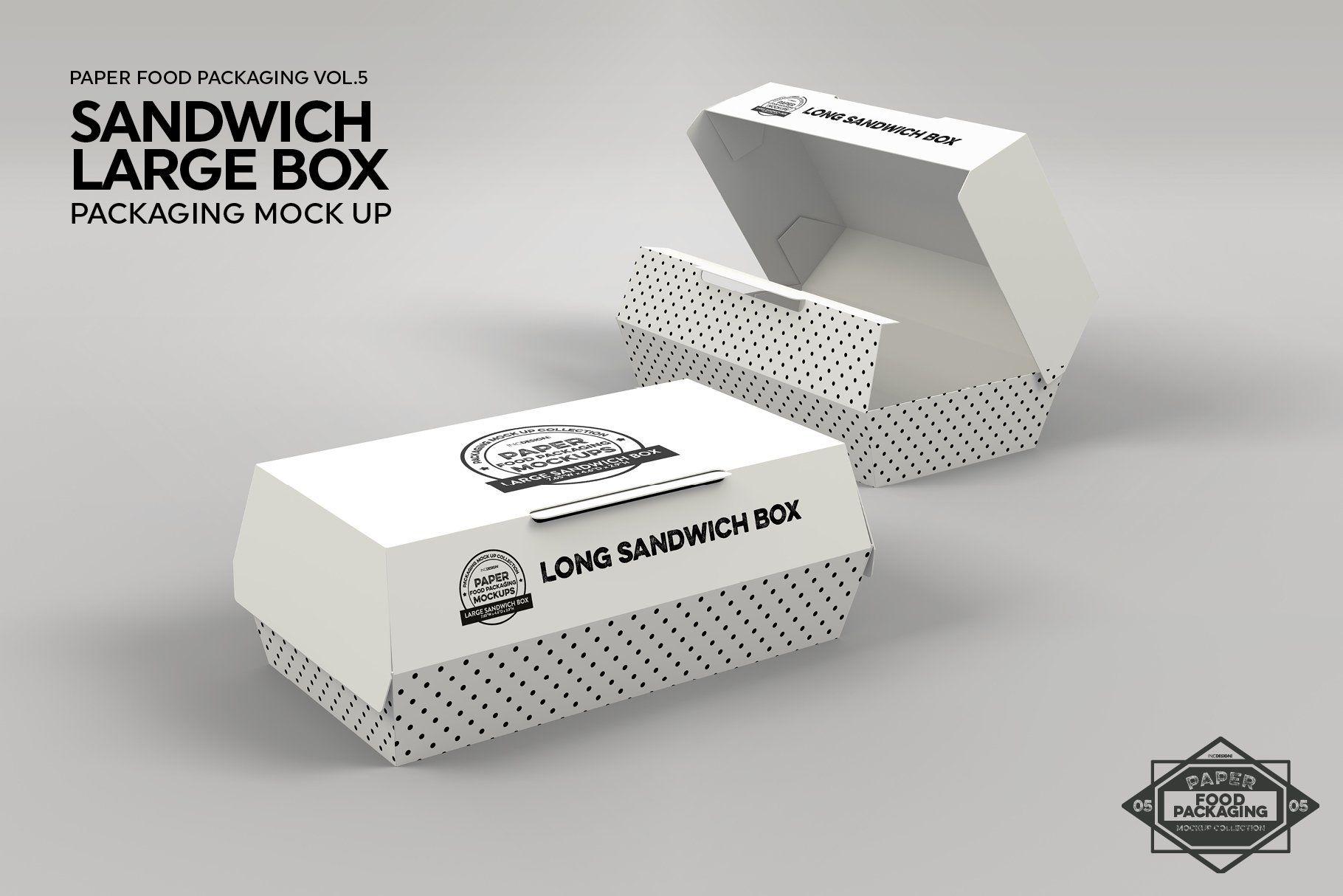 Download Large Sandwich Box Packaging Mockup Packaging Mockup Free Packaging Mockup Branding Template