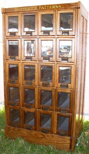 Oak Butterick Pattern Cabinet, 20 Glass Front Drawers.