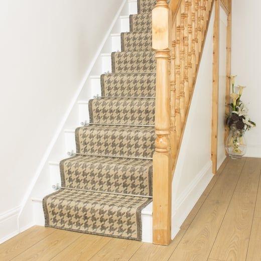 Best Houndstooth Tweed Beige Stair Runner Painted Staircases 400 x 300