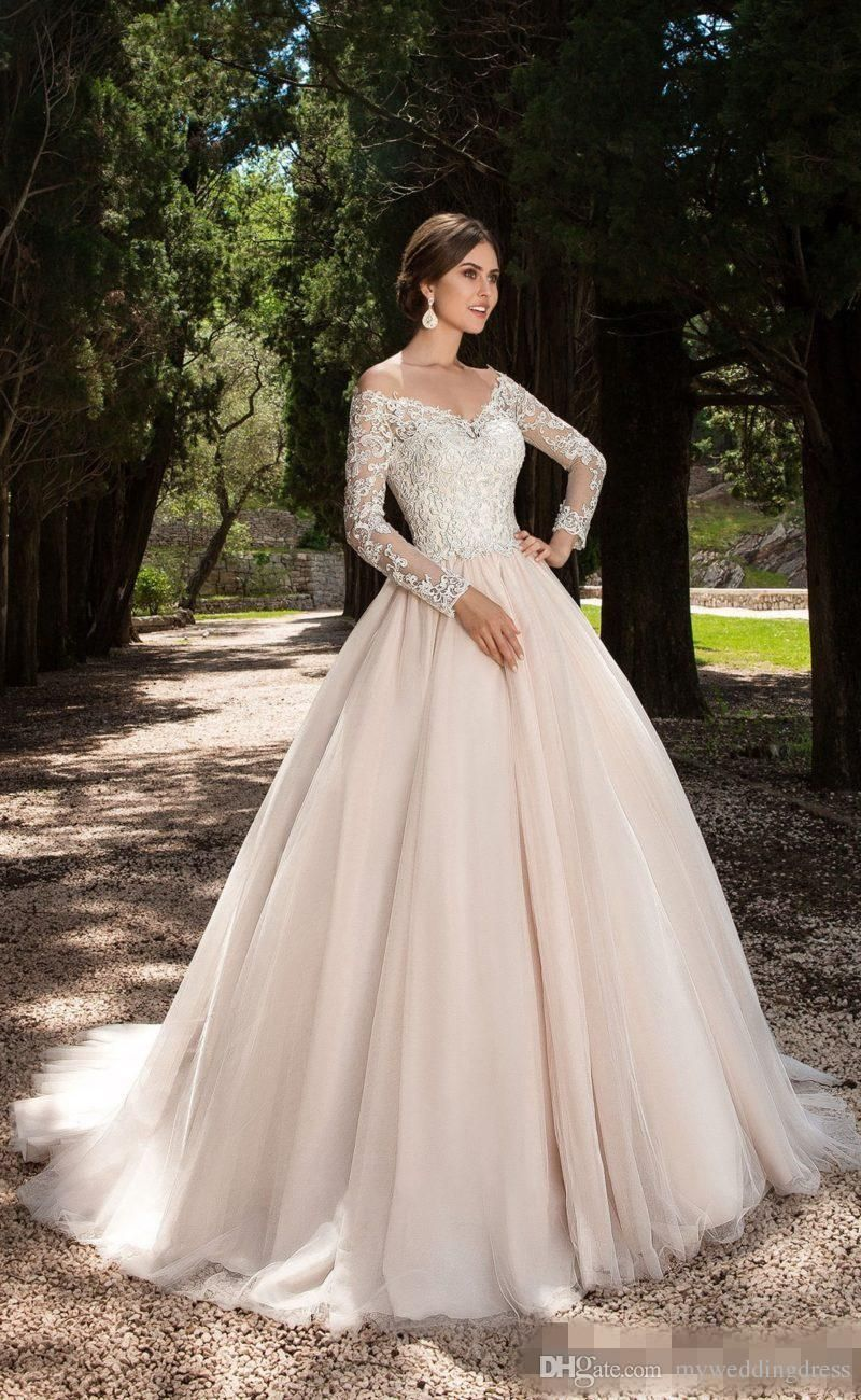 Plus size long sleeve lace wedding dresses vintage lace boat