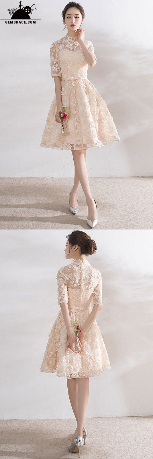Short wedding reception dress  Short champagne lace high neck reception dress with collar  Sweet