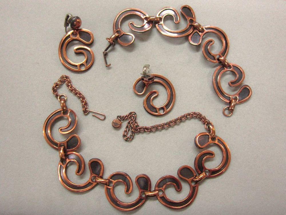 Rebajes Copper Modernist Necklace Bracelet Vintage #Rebajes