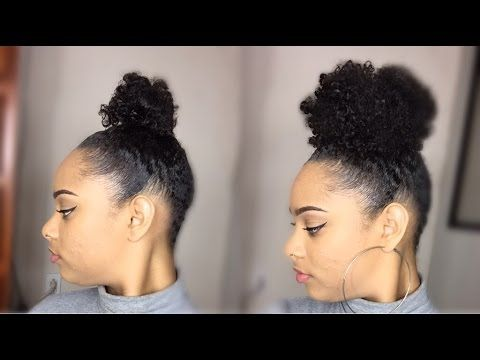 Faux Bun W Her Given Hair Curly Clip Ins On Short Natural Hair Twa Curly Clip Ins Natural Hair Styles Short Natural Hair Styles