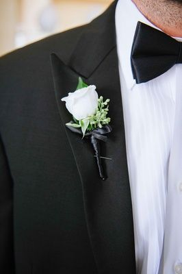 Inside Weddings All White Wedding White Rose Boutonniere White Boutonniere