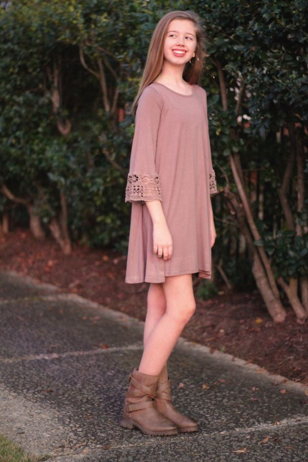 Girls Drape Dress with Lace Detail for tweens and teens.   Betwixt ...