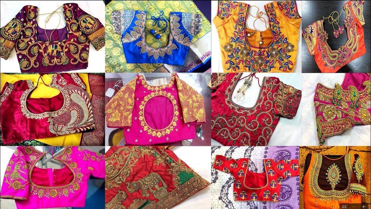 Antique Zardosi Work Blouses For Silk Sarees Work Blouse Zardosi Work Blouse Fashion