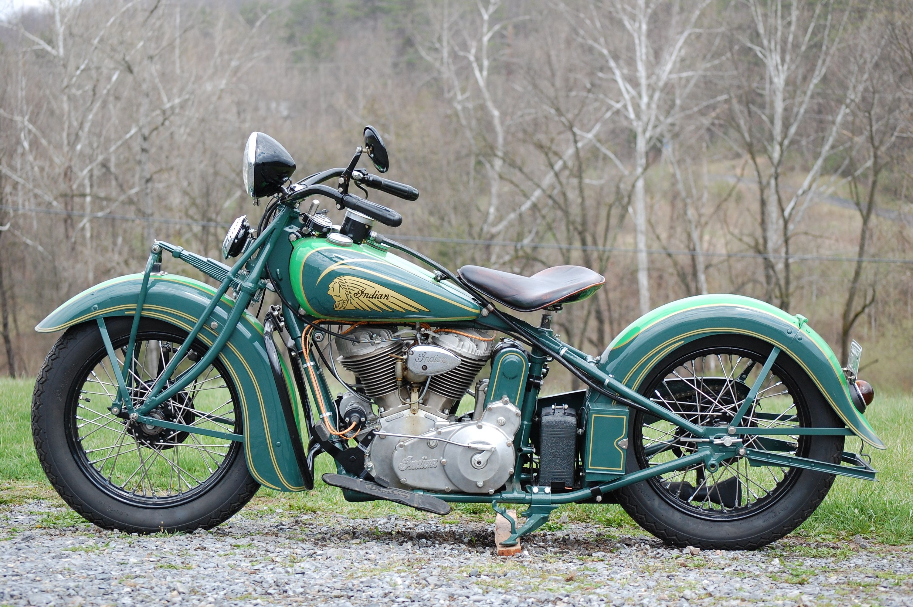 1937 Indian Chief Nature Green For A Country Ride Custom Made Bike For A Casual Ride Nice D Indian Motorcycle Vintage Indian Motorcycles Vintage Motorcycles