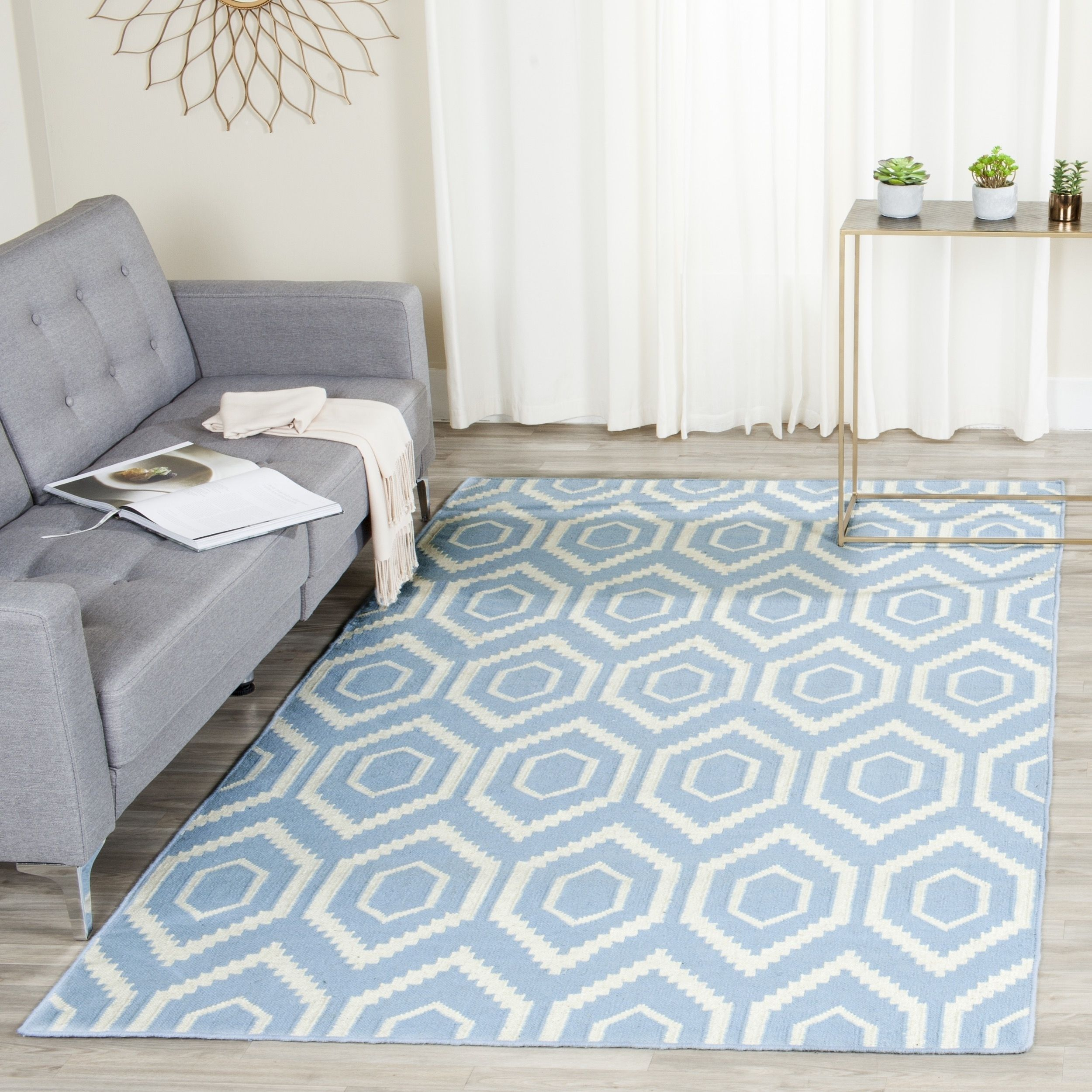 Safavieh Hand Woven Moroccan Reversible Dhurrie Blue Ivory Wool Rug 8 X