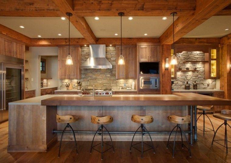 Cuisine rustique avec bar et parement en pierre cuisine - Refaire sa cuisine rustique en moderne ...