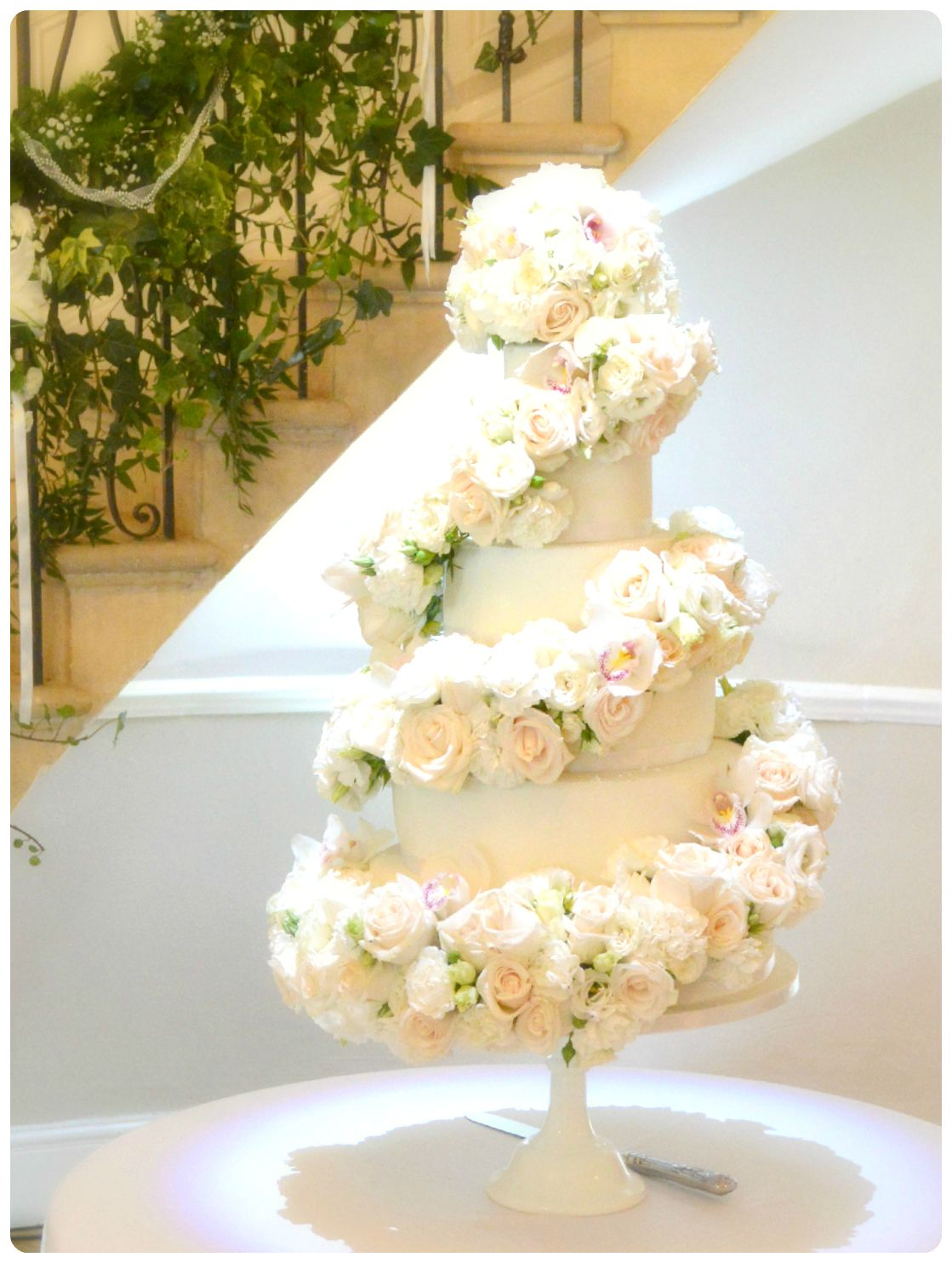 6-tier Ivory Rose and Orchids Cascade Wedding Cake | ⚛◎ Cake Ideas ...